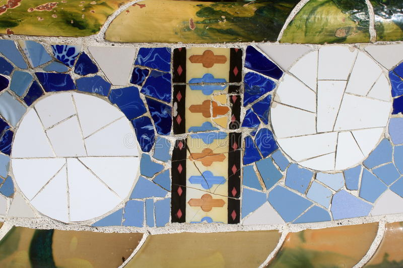 Mosaics decoration at Park Guell. In Barcelona, Spain royalty free stock photos