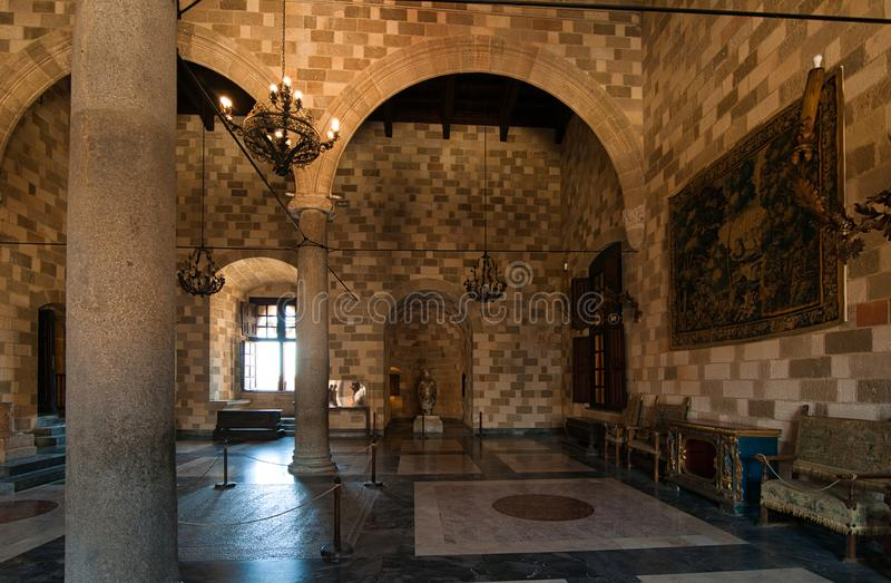 Mosaics in the Palace of the Grand Masters Palace Rhodes. The Place of the Grand Masters was reconstructed by the Italians in the 1930s when they occupied the stock image
