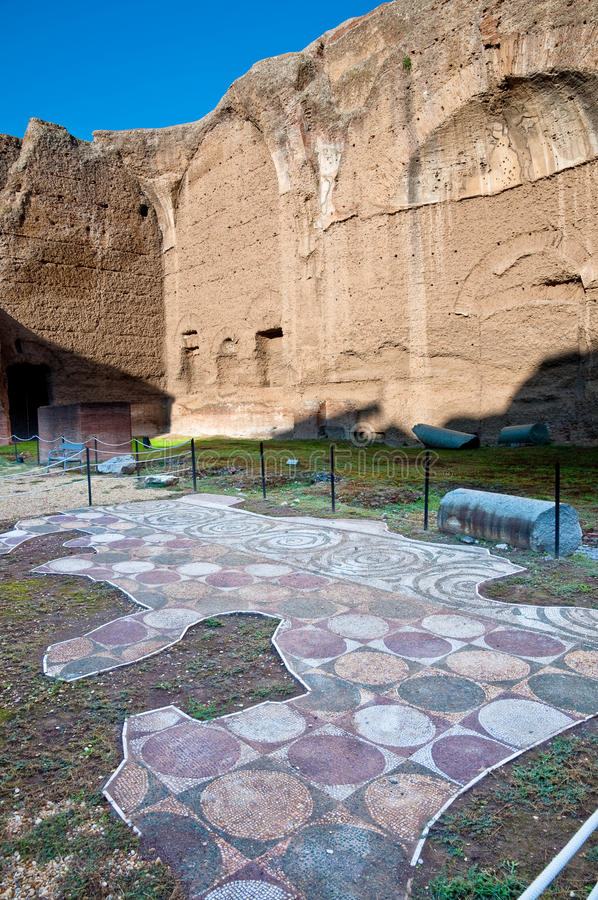 Mosaics in Palestre at Terme di Caracalla at Rome. Italy royalty free stock photography