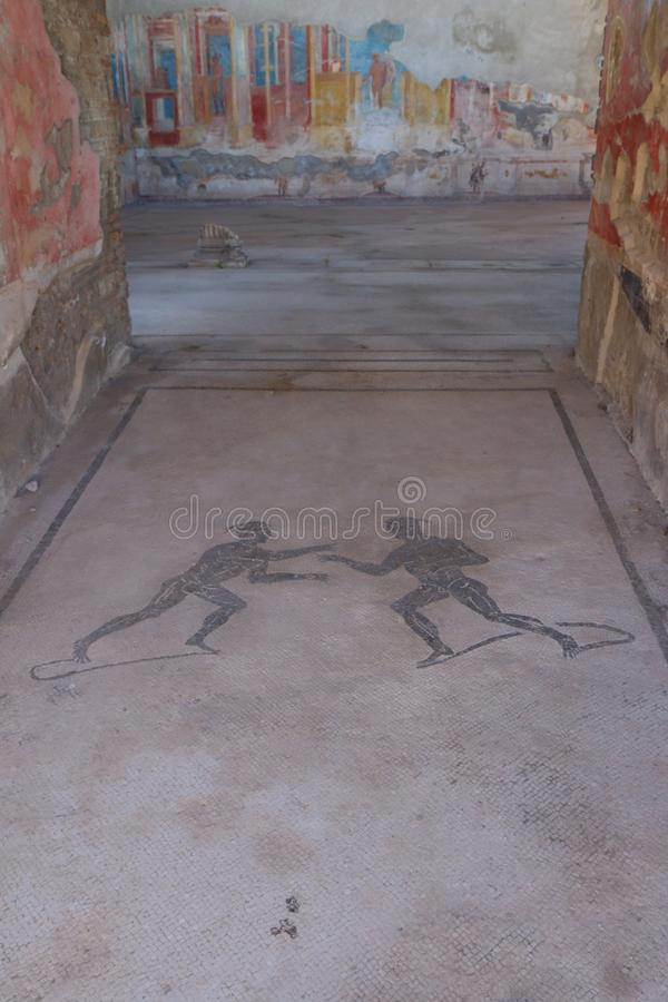Mosaics at Pompeii. Archaeological site, the ancient Roman city, destroyed in 79 BC by the eruption of Mount Vesuvius stock images