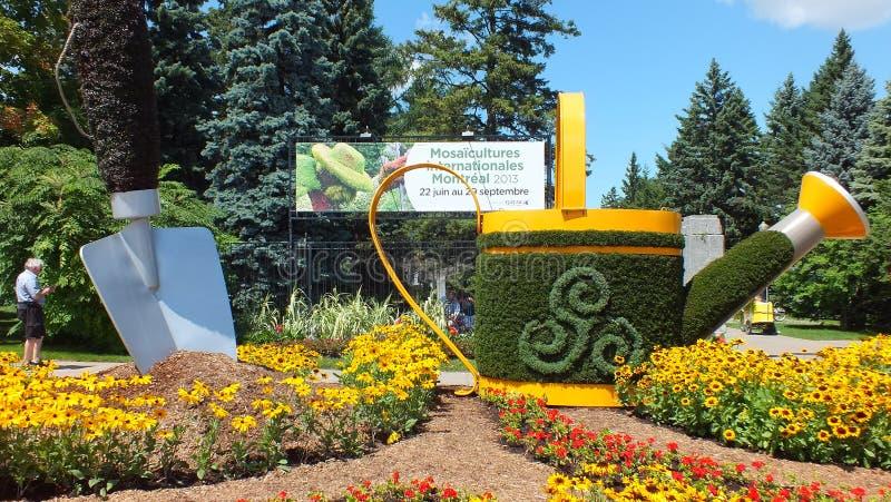 MOSAICULTURES国际性组织2013年,蒙特利尔、魁北克、加拿大,入口标志和庭院 库存照片