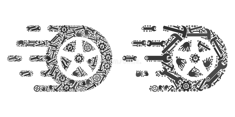 Mosaik-Auto-Rad-Ikonen von Service-Werkzeugen lizenzfreie abbildung