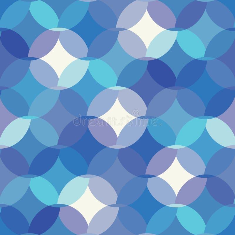 Mosaik av cirklar, halva cirlcebeståndsdelar Sömlös modell för geometrisk blå monokrom vektor för tyg, tapet stock illustrationer