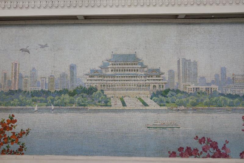 Mosaik av den Yonggwang stationen, Pyongyang tunnelbana royaltyfri foto