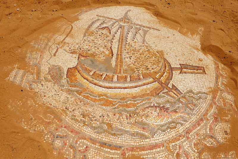 Mosaik av ett gammalt fartyg royaltyfria foton