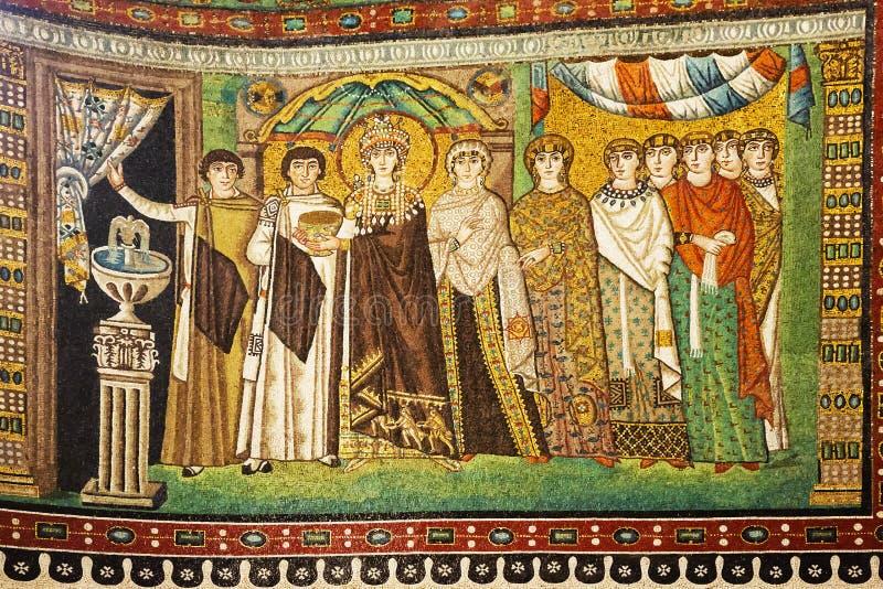 Mosaik av kejsarinnan Theodora och deltagare arkivfoto
