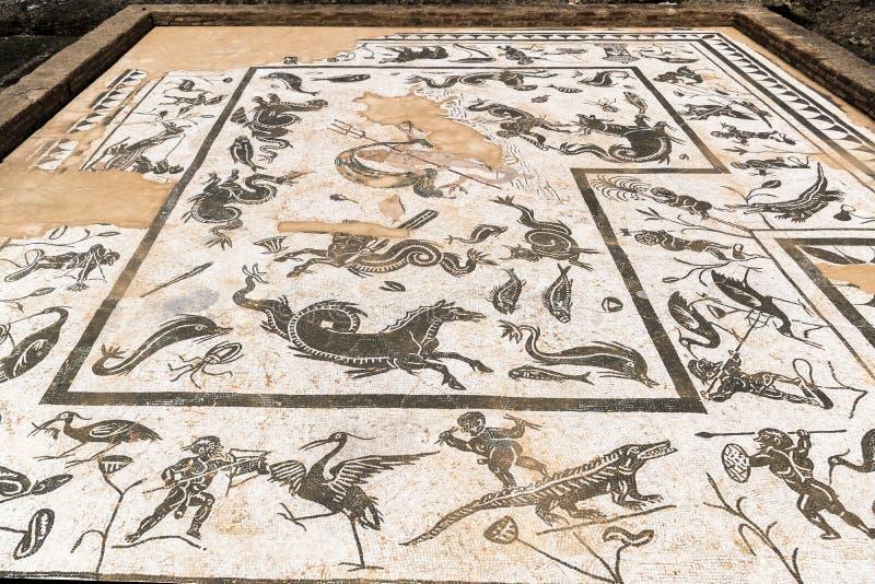Mosaik av Neptun i hus av Neptun, Italica, Spanien arkivbild