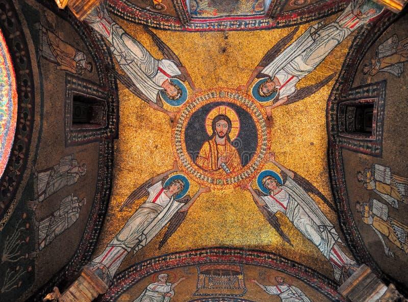 Mosaik bei Santa Prassede, Rom Italien stockbild