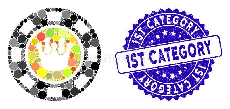 Mosaik Crown Casino Chip Symbol mit Grunge 1St Kategorie Siegel vektor abbildung