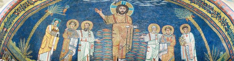 Mosaik in der Basilika von Santa Prassede stockfotografie