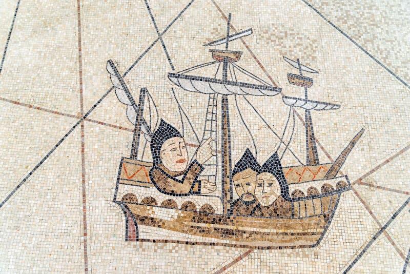 Mosaik des altgriechischen Schiffs, Canakkale lizenzfreie stockfotos
