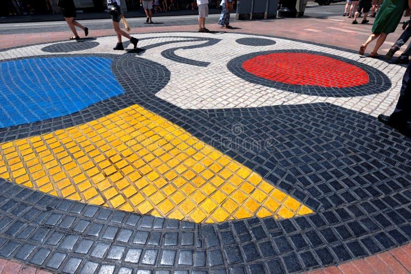 Mosaik durch Joan Miro - Barcelona Spanien stockfotos