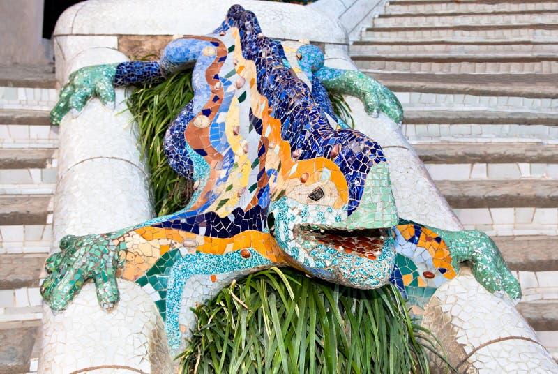 Mosaik-Eidechse im Park Guell lizenzfreies stockbild