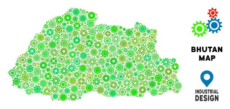 Mosaik för kugghjulBhutan översikt vektor illustrationer