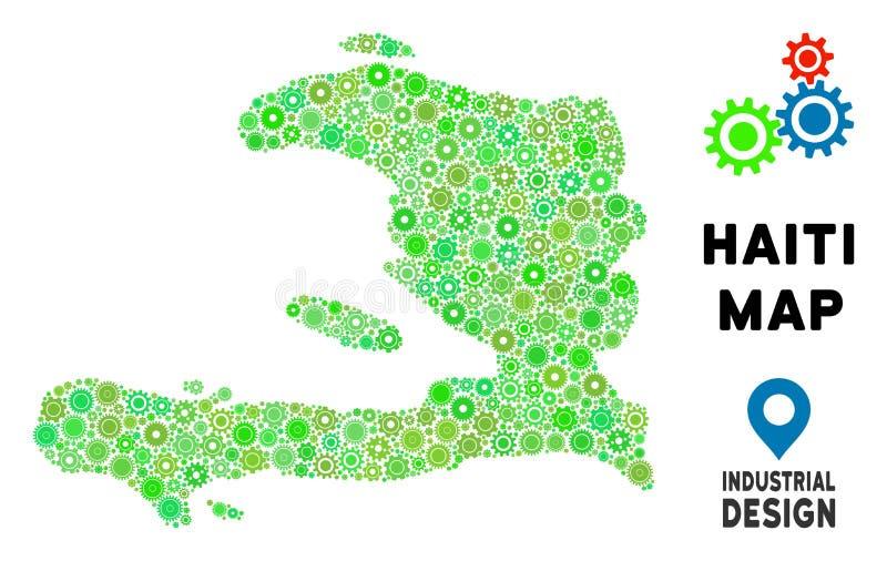 Mosaik för kugghjulHaiti översikt stock illustrationer