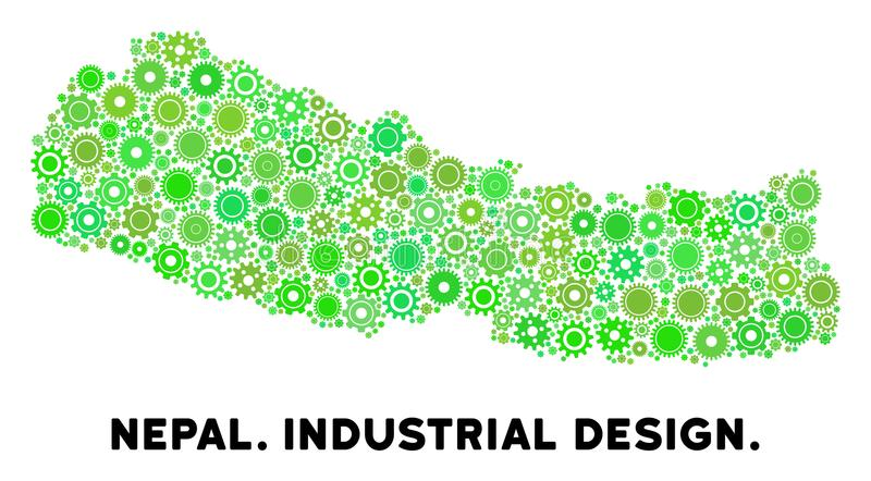 Mosaik för kugghjulNepal översikt vektor illustrationer