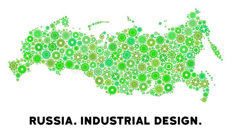 Mosaik för kugghjulRyssland översikt stock illustrationer