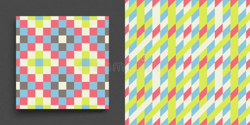 mosaik geometrisk bakgrund L?robok-, h?fte- eller anteckningsbokmodell Bl? abstrakt orienteringsmall med fyrkanter R?kningsdesign royaltyfri illustrationer