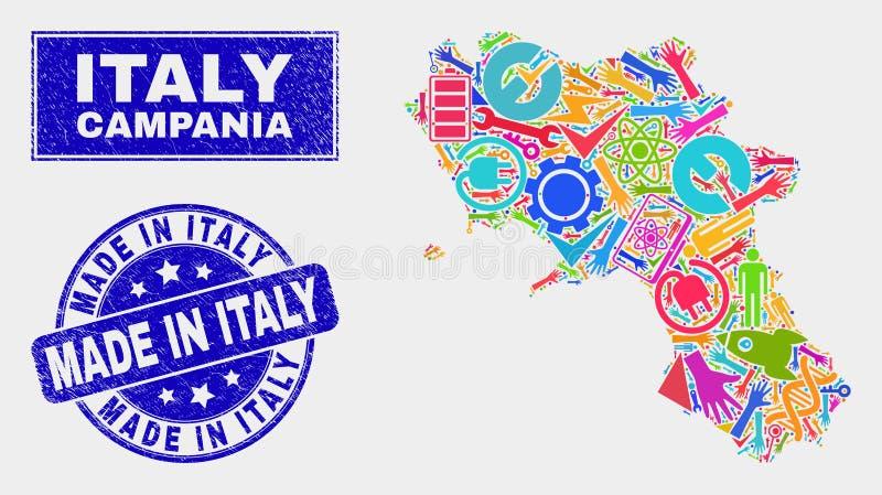 Mosaik-industrielle Kampanien-Regions-Karte und Schmutz gemacht in Italien-Stempelsiegel stock abbildung