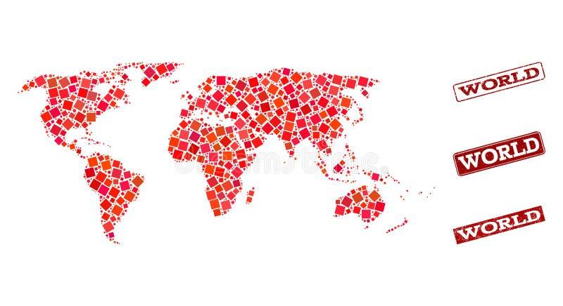 Mosaik-Karte der Welt und der verkratzten Schuldichtungs-Collage stock abbildung