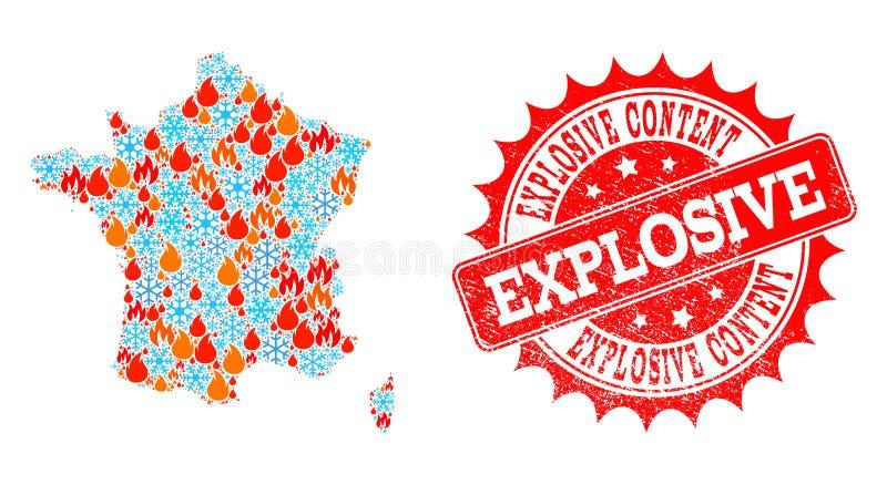 Mosaik-Karte von Frankreich des Feuers und des Schnees und der explosiven zufriedenen verkratzten Robbe vektor abbildung