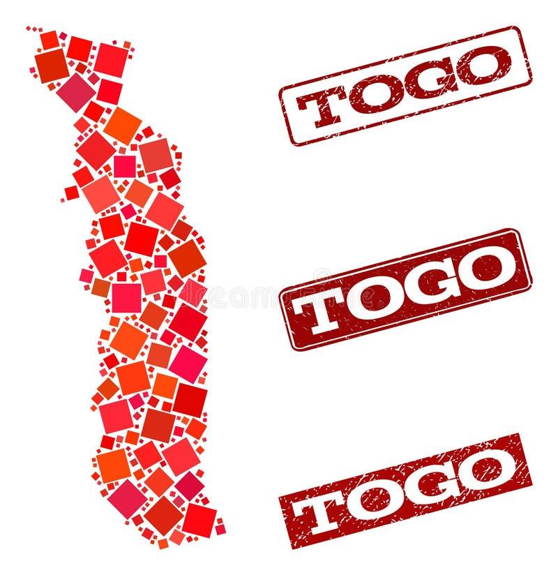 Mosaik-Karte von Togo und von strukturierter Schulstempel-Zusammensetzung vektor abbildung