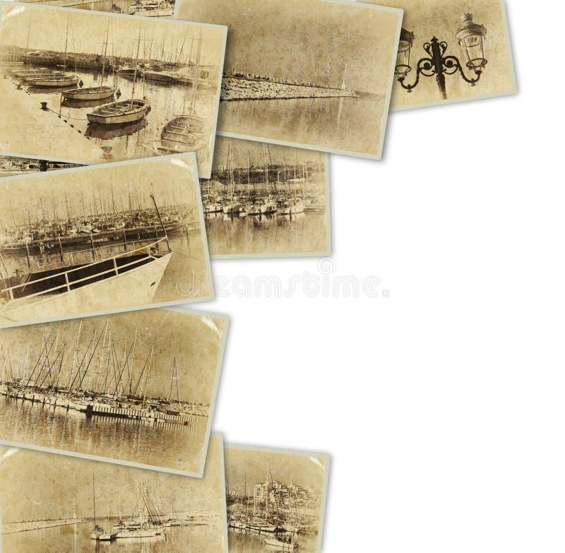 Mosaik mit alten Bildern sehr des Jachthafens mit Yachten Collage mit Retro- Effekt und im altem Stil Foto Verrostete, alte, symb lizenzfreie stockfotografie