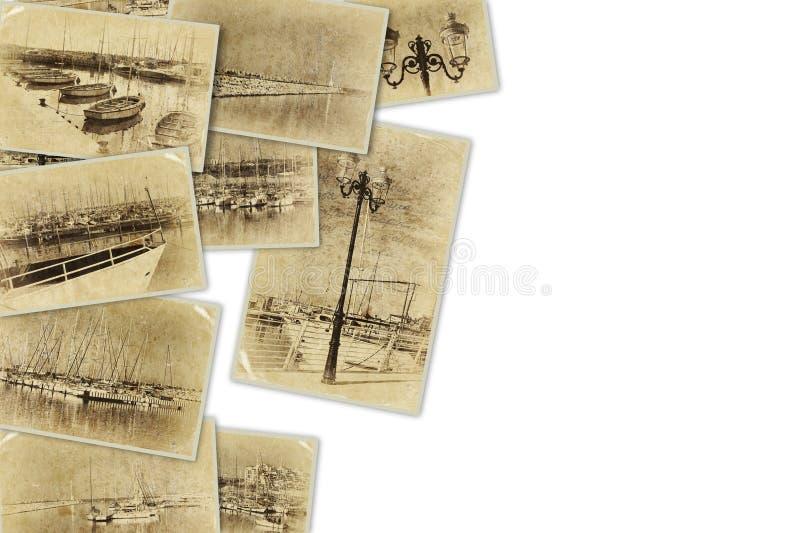 Mosaik mit alten Bildern sehr des Jachthafens mit Yachten Collage mit Retro- Effekt und im altem Stil Foto Verrostete, alte, symb lizenzfreies stockbild