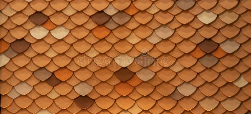 Mosaik-orangefarbene Kreise oder Fisch-Hautfliesen auf Dach- oder Wanddekoration für Tapeten Innenarchitekturmuster lizenzfreie stockfotos
