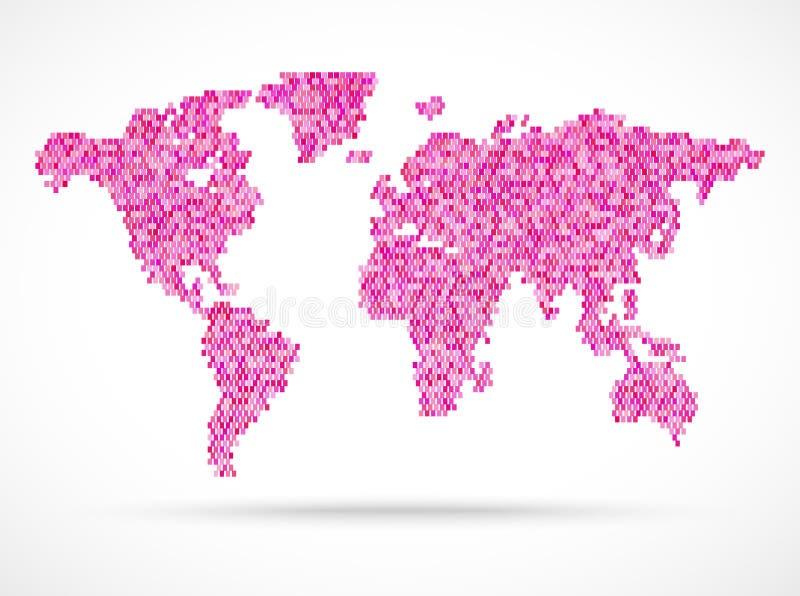 Mosaik rosa världskartaillustration vektor illustrationer