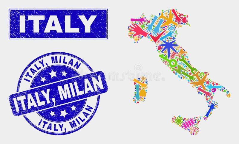 Mosaik-Service-Italien-Karte und Schmutz Italien, Milan Watermark lizenzfreie abbildung