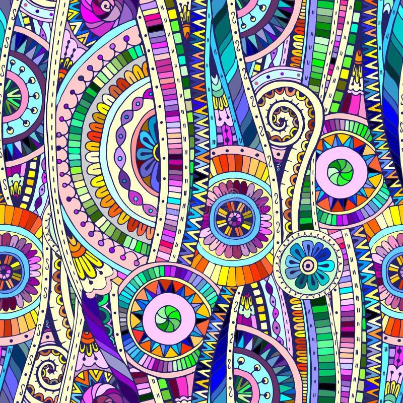 Mosaik Stammes- doddle ethnisches nahtloses Muster vektor abbildung