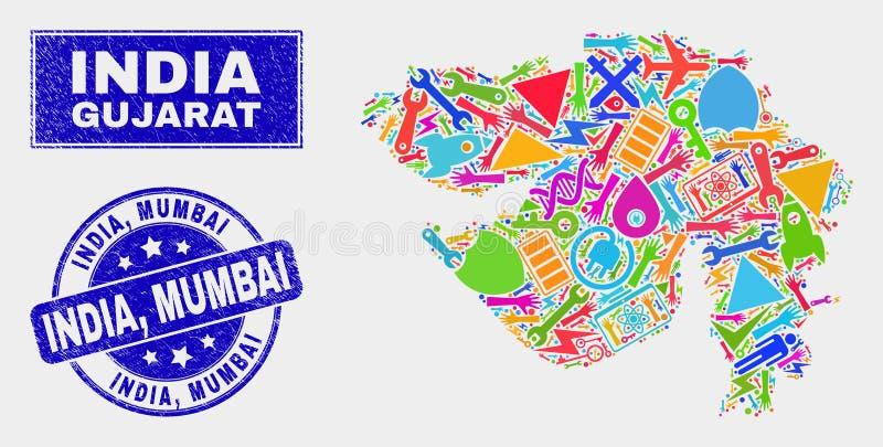 Mosaik-Technologie-Gujarat-Staats-Karte und Stempelsiegel verkratzten Indiens, Mumbai lizenzfreie abbildung