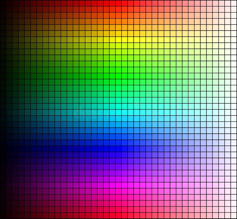 Mosaik, ton och ljusstyrka för färgspektrum, på svart bakgrund vektor royaltyfri illustrationer