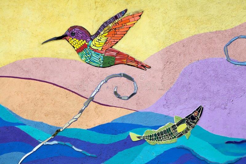 Mosaik und murales in Valparaiso, Chile stockbilder