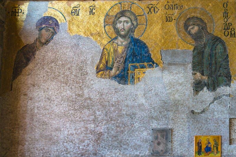 Mosaik von Jesus Christ in Hagia Sophia, Ayasofya stockfotografie