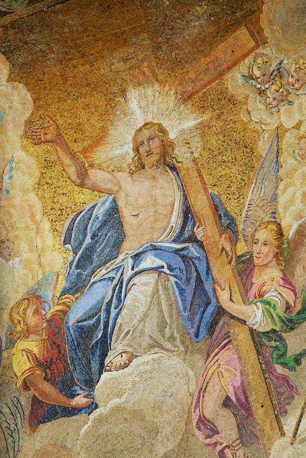 Mosaik von Jesus Christ inthronisierte im Paradies an St Mark Basilika in Venedig, Italien lizenzfreie stockbilder