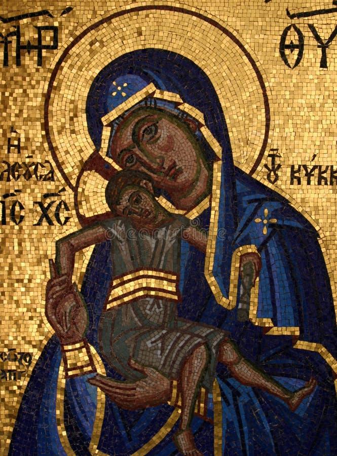 Mosaik von Jungfrau Maria und Jesus Christ lizenzfreie stockfotografie
