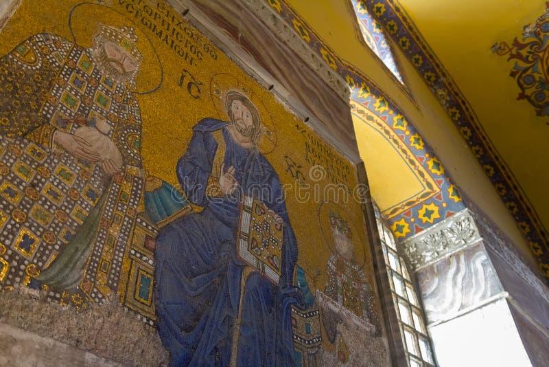 Mosaik von Jungfrau Maria und Jesus Christ und andere Heilige in der Kirche Hagia Sofia lizenzfreie stockfotos