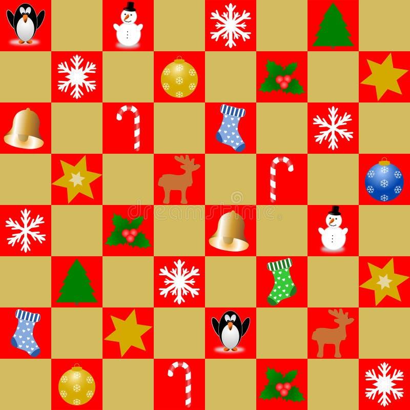 Mosaik von Roten und Goldquadraten mit Weihnachtssymbolen stockfotos