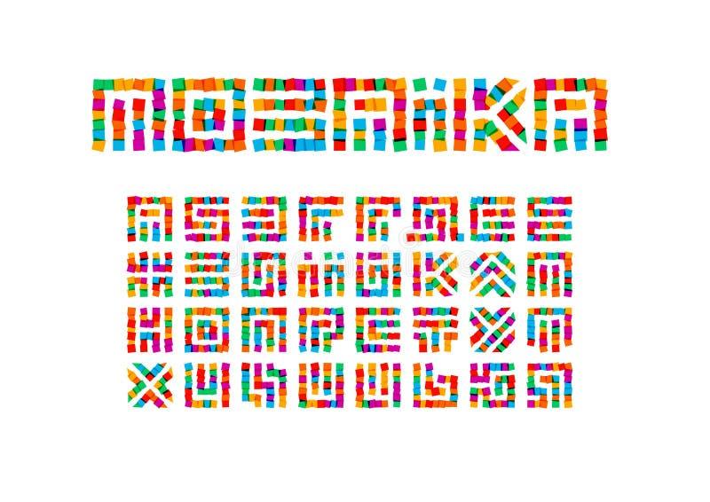Mosaikbuchstabesatz Farbige Aufkleber reden Vektorukraineralphabet an Guss für Ereignisse, Förderungen, Logos, Fahne lizenzfreie abbildung