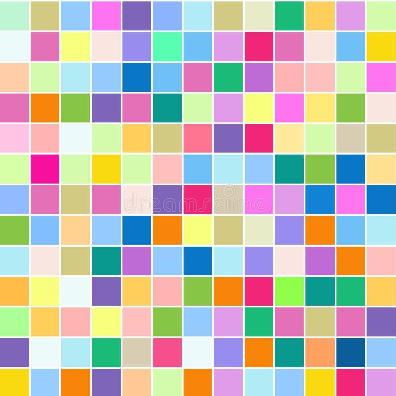 Mosaiken av ljusa färgrika fyrkanter på en vit bakgrund stock illustrationer