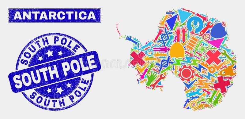 Mosaiken bearbetar Antarktis den återhållsamma översikten och nödlägeAntarktisvattenstämpeln royaltyfri illustrationer