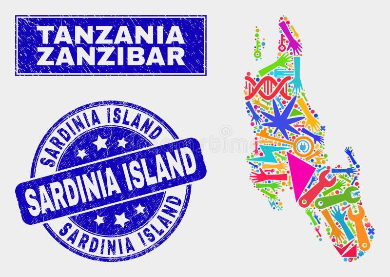 Mosaiken bearbetar den Zanzibar ööversikten och den skrapade skyddsremsan för Sardinia östämpel royaltyfri illustrationer