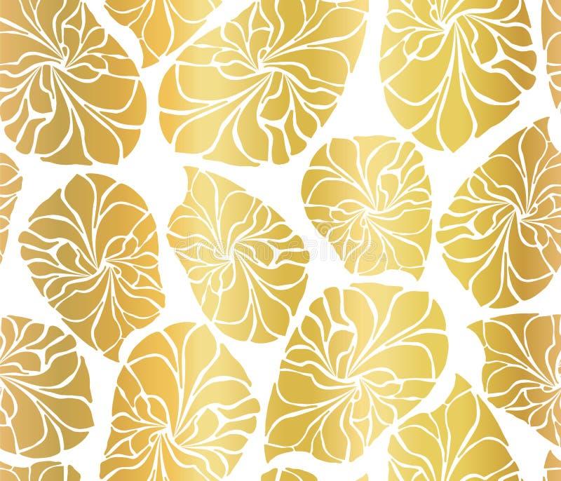 Mosaiken för guld- folie lämnar sömlös vektorbakgrund Guld- abstrakta bladformer på vit bakgrund Elegant lyxig modell vektor illustrationer