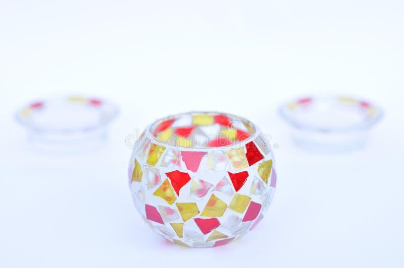 Mosaikglas-Kerzenhalter lizenzfreies stockbild