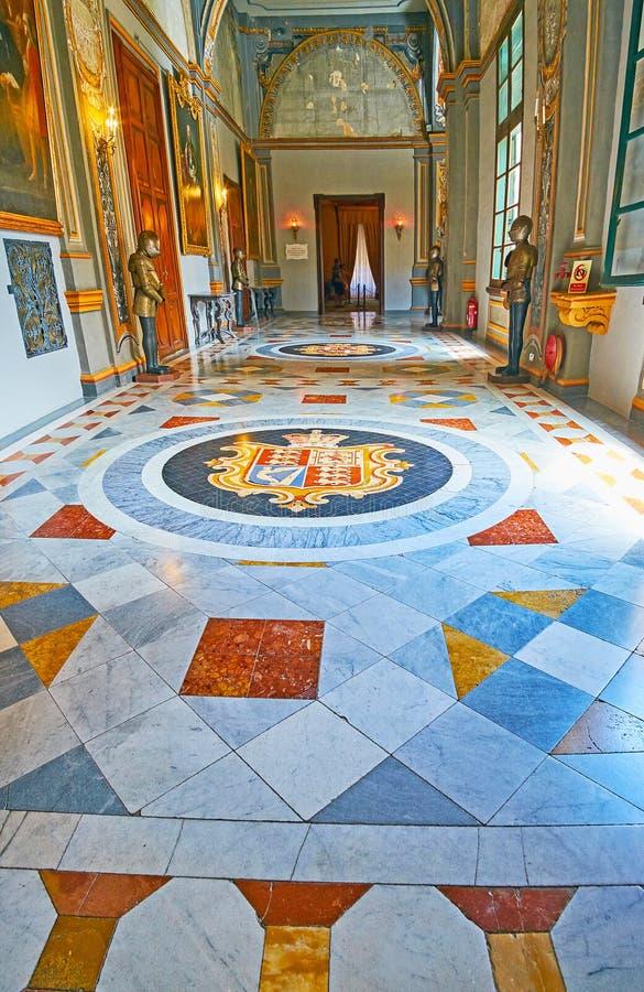 Mosaikgolvet av slotten för Grandmastr ` s, Valletta, Malta royaltyfria foton