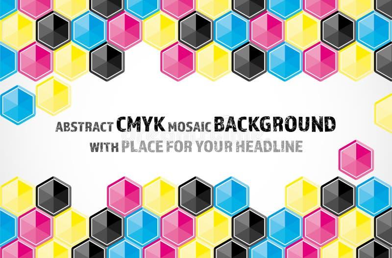 Mosaikhintergrund von CMYK farbigen Hexagonen lizenzfreie abbildung