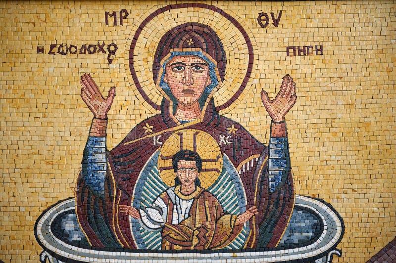 Mosaikikone in St George griechisch-orthodoxer Kirche in Madaba, Jordanien stockfotos