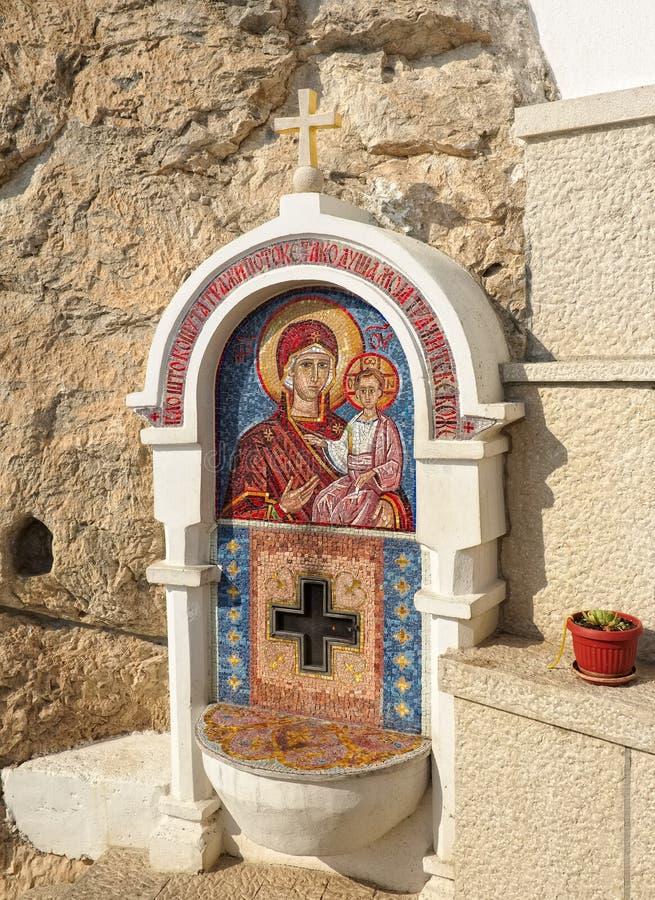 Mosaikikone von Jungfrau Maria und von Schätzchen Jesus lizenzfreies stockbild